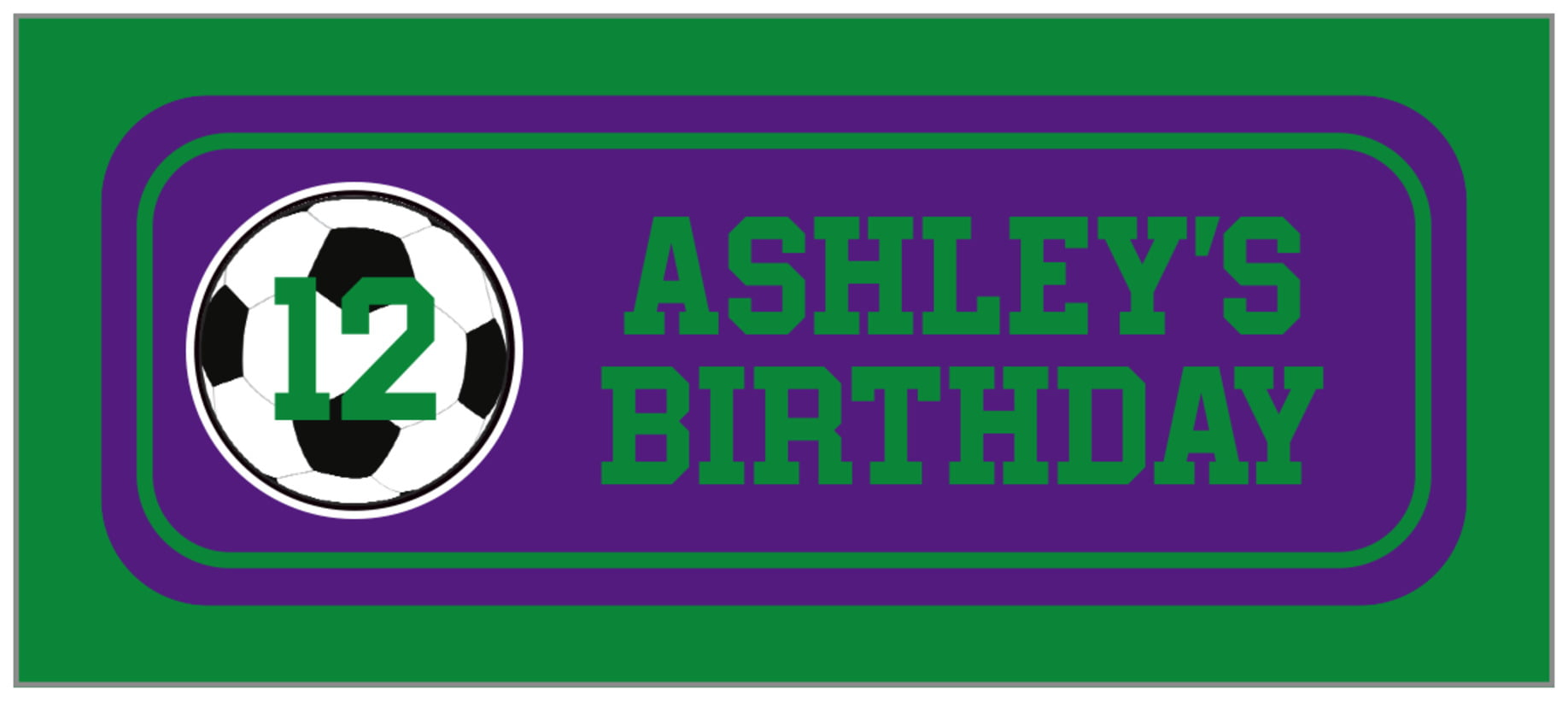 small rectangle food/craft labels - purple & green - soccer (set of 24)