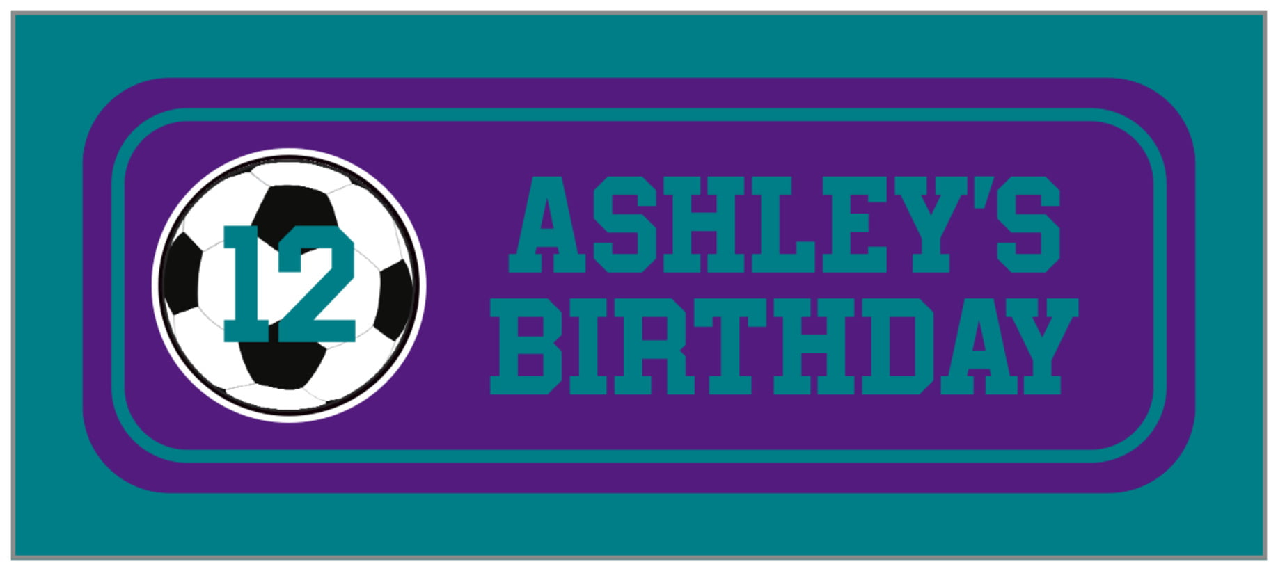 small rectangle food/craft labels - purple & teal - soccer (set of 24)