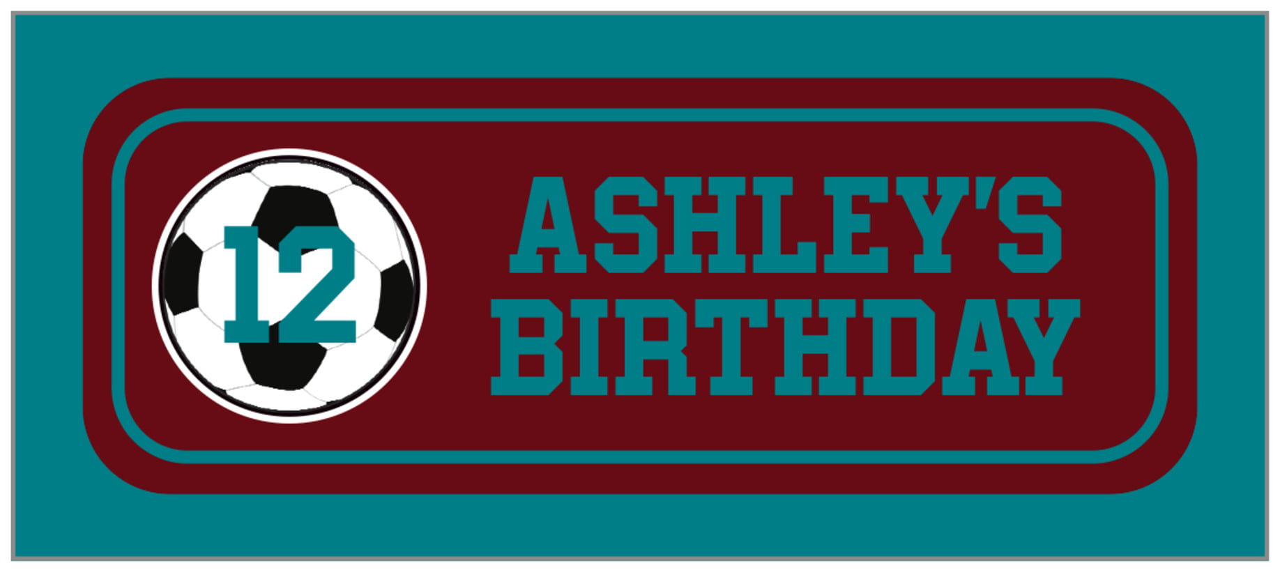 small rectangle food/craft labels - maroon & teal - soccer (set of 24)