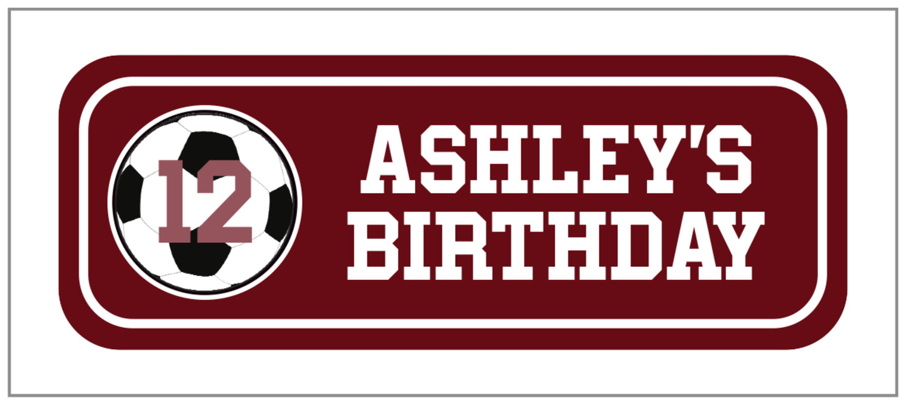 small rectangle food/craft labels - maroon & white - soccer (set of 24)