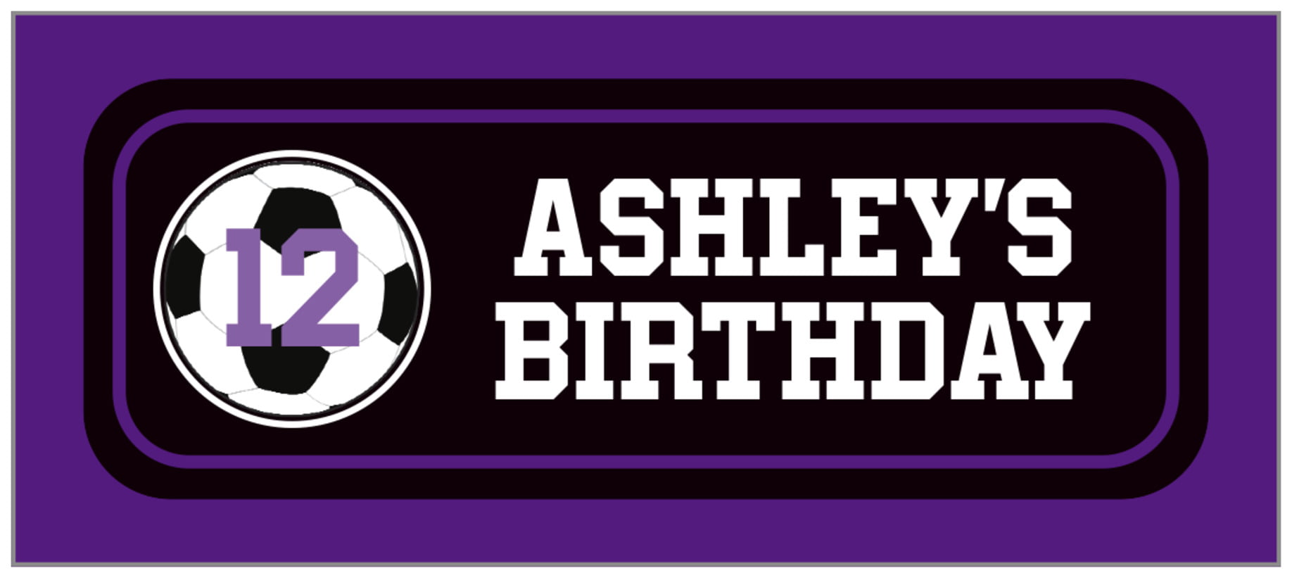 small rectangle food/craft labels - black & purple - soccer (set of 24)