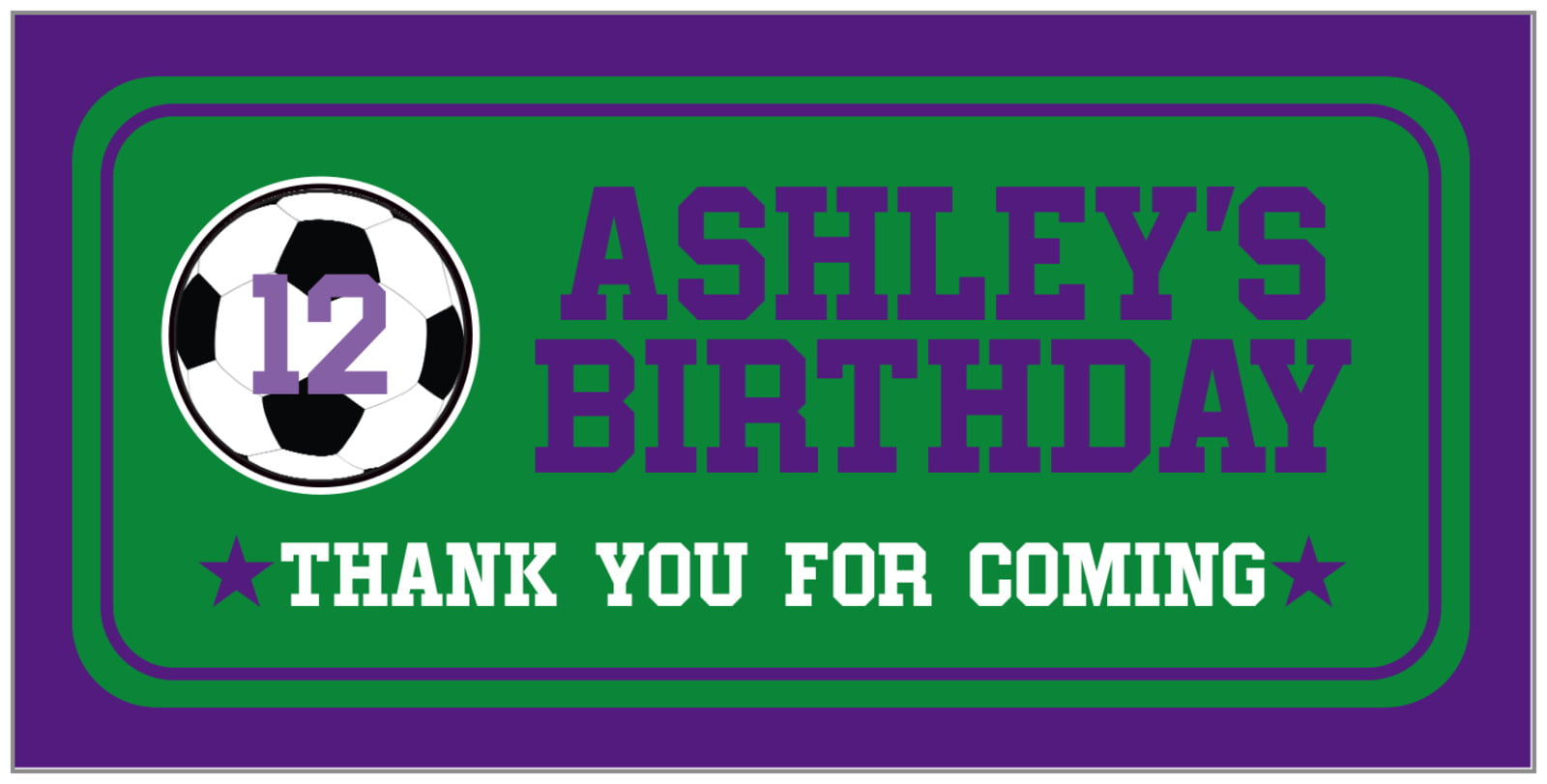 small rectangular food/craft labels - green & purple - soccer (set of 24)
