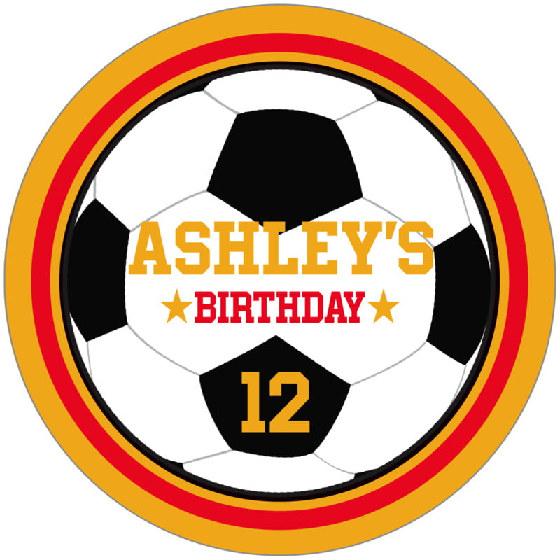 circle food/craft labels - red & gold - soccer (set of 12)