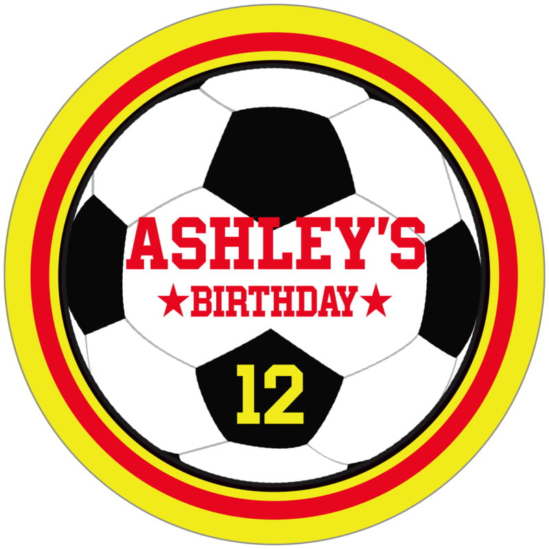 circle food/craft labels - red & yellow - soccer (set of 12)