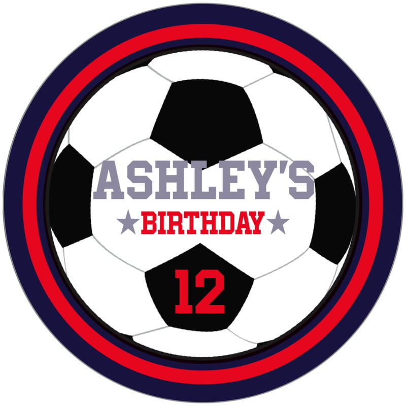 circle food/craft labels - red & navy - soccer (set of 12)