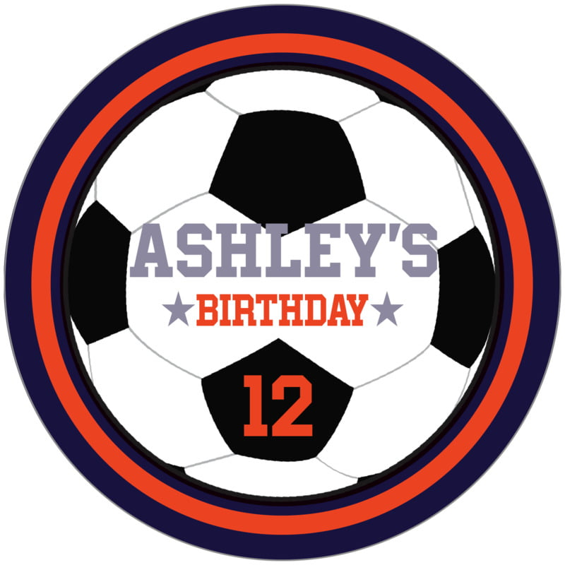 circle food/craft labels - orange & navy - soccer (set of 12)