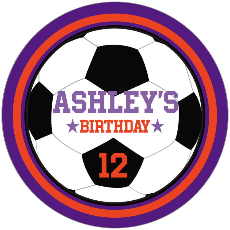 circle food/craft labels - orange & purple - soccer (set of 12)