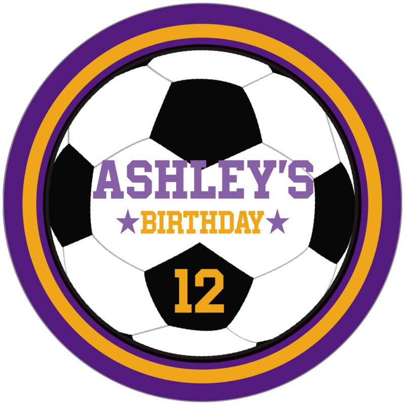circle food/craft labels - gold & purple - soccer (set of 12)