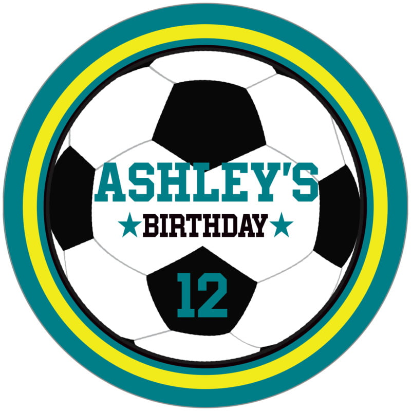 circle food/craft labels - yellow & teal - soccer (set of 12)