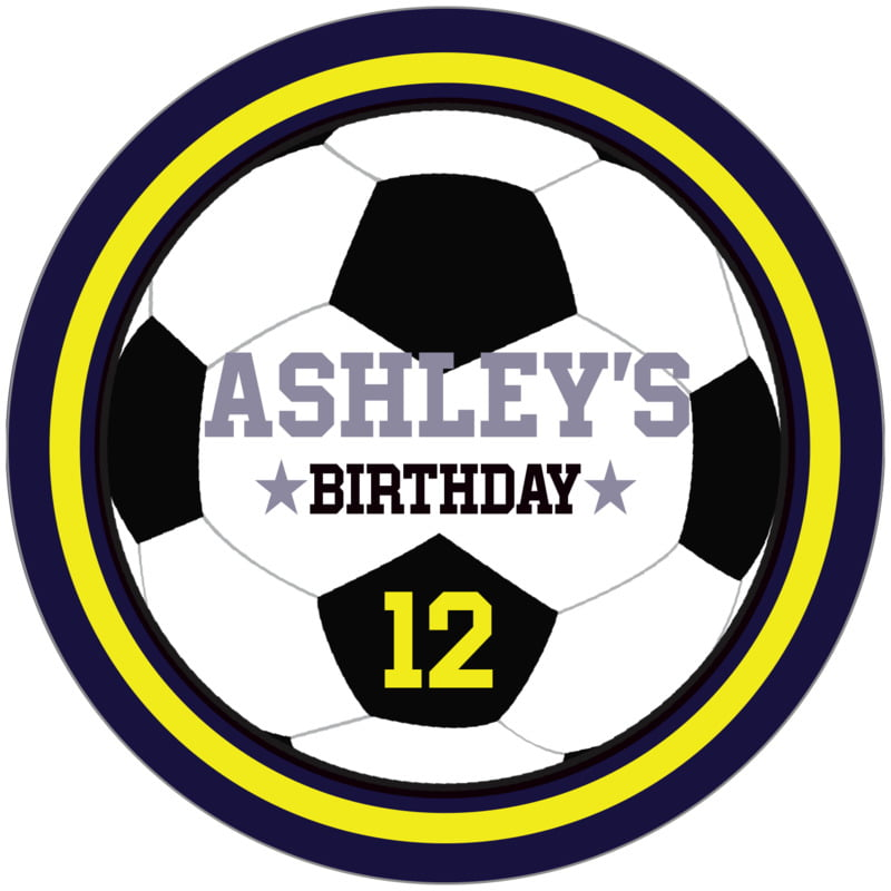 circle food/craft labels - yellow & navy - soccer (set of 12)