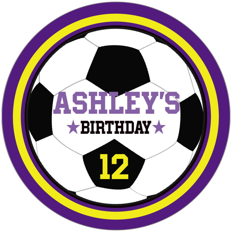 circle food/craft labels - yellow & purple - soccer (set of 12)