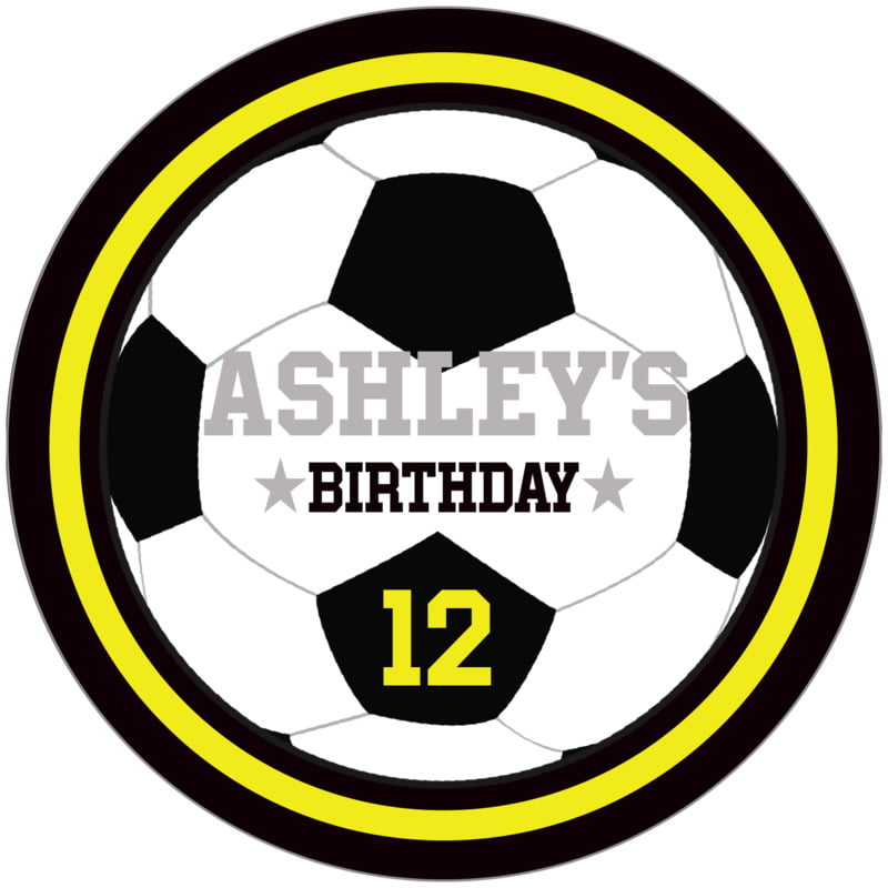 circle food/craft labels - yellow & black - soccer (set of 12)
