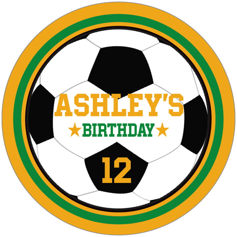 circle food/craft labels - green & gold - soccer (set of 12)