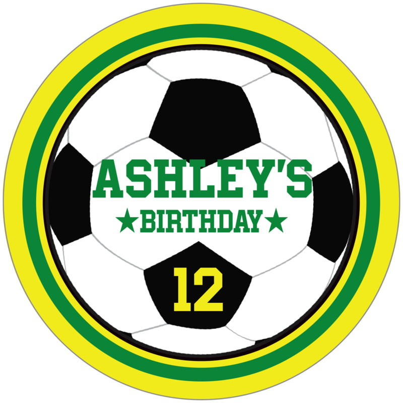 circle food/craft labels - green & yellow - soccer (set of 12)
