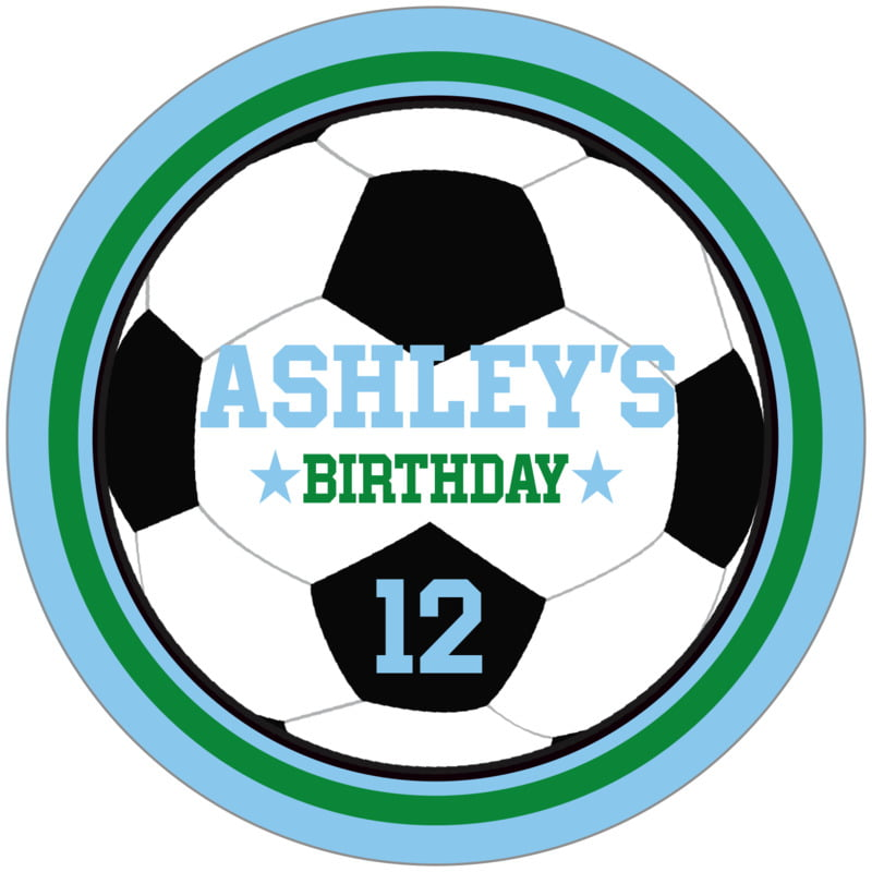 circle food/craft labels - green & light blue - soccer (set of 12)