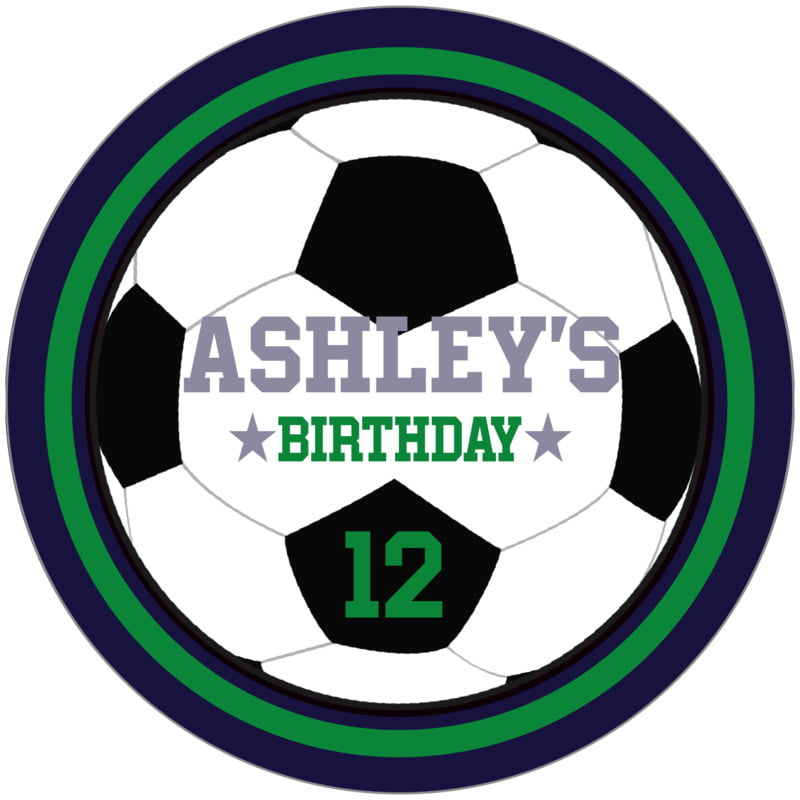 circle food/craft labels - green & navy - soccer (set of 12)