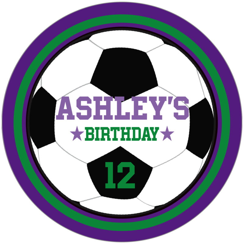 circle food/craft labels - green & purple - soccer (set of 12)