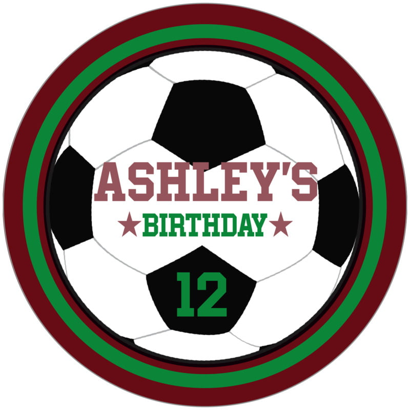 circle food/craft labels - green & maroon - soccer (set of 12)