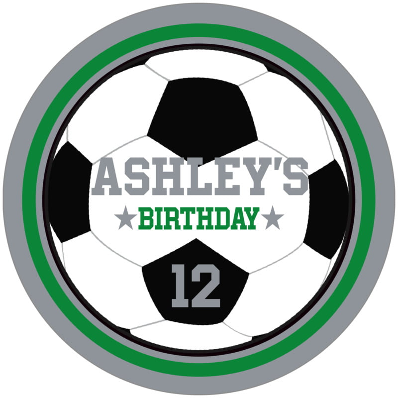 circle food/craft labels - green & silver - soccer (set of 12)