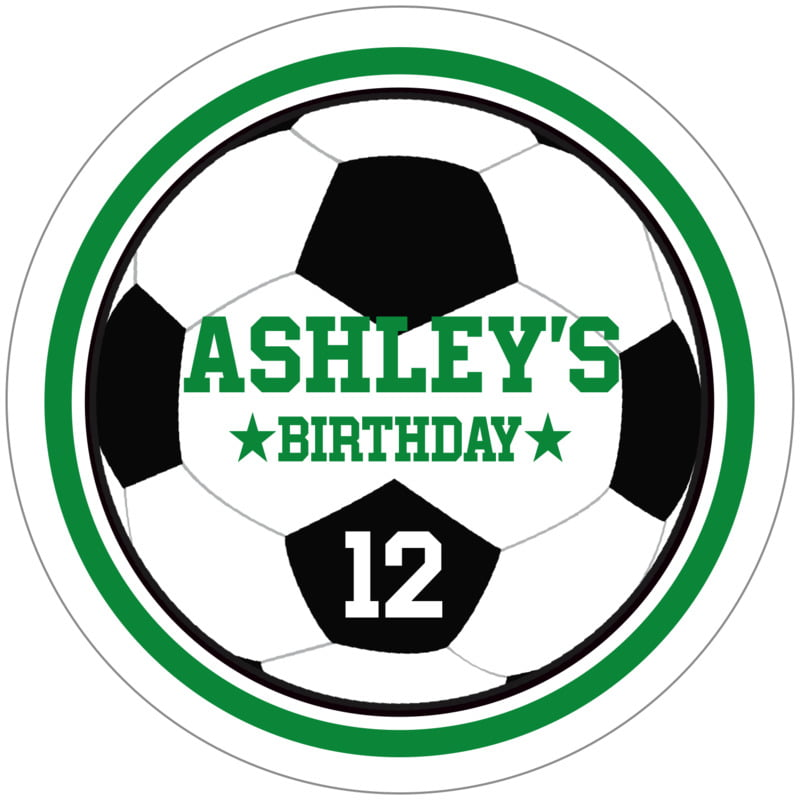 circle food/craft labels - green & white - soccer (set of 12)