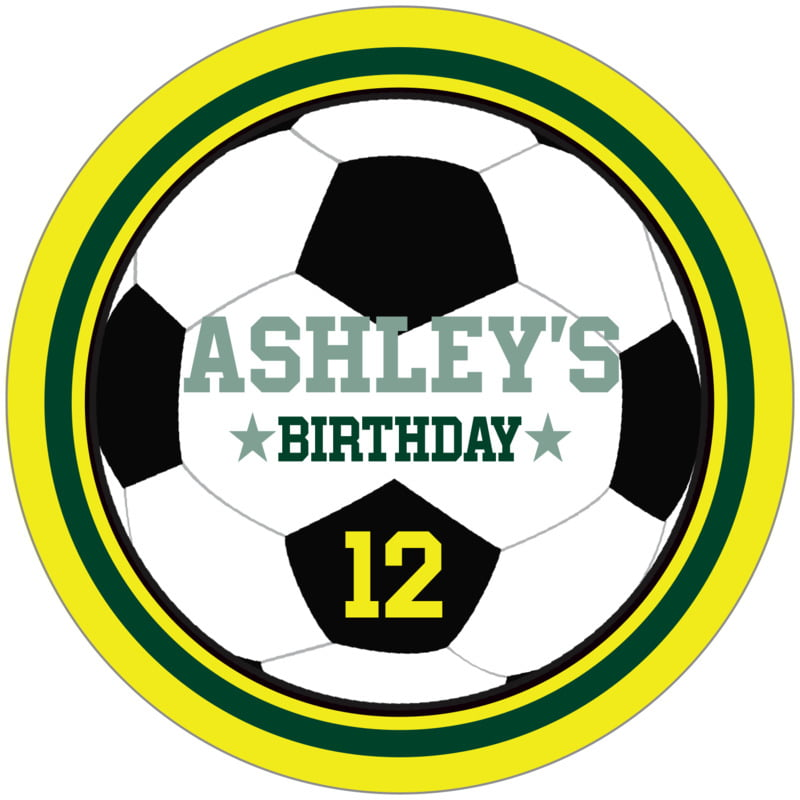 circle food/craft labels - forest & yellow - soccer (set of 12)