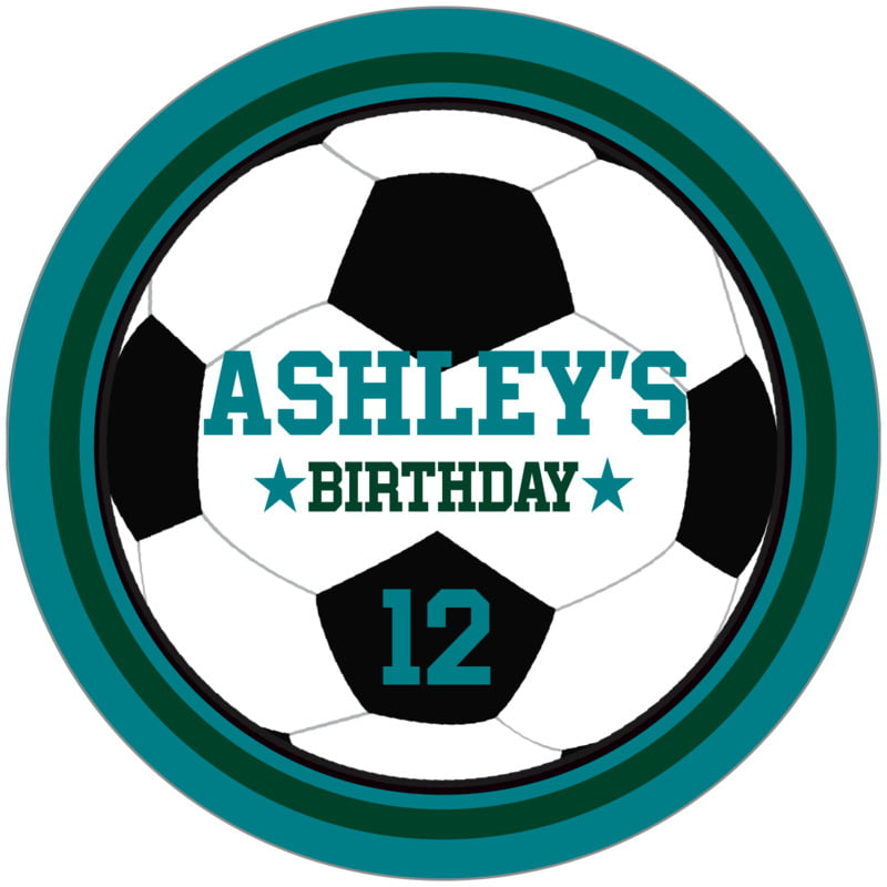 circle food/craft labels - forest & teal - soccer (set of 12)