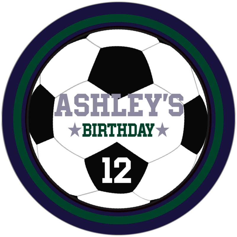 circle food/craft labels - forest & navy - soccer (set of 12)
