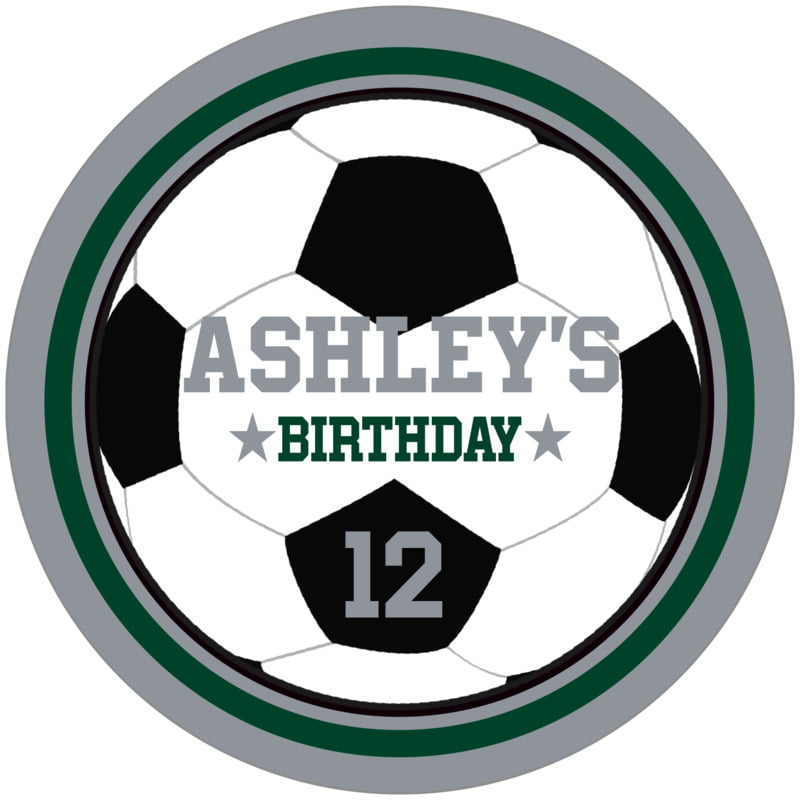 circle food/craft labels - forest & silver - soccer (set of 12)