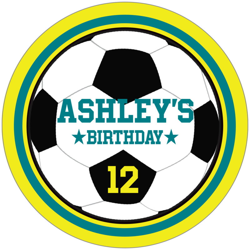 circle food/craft labels - teal & yellow - soccer (set of 12)
