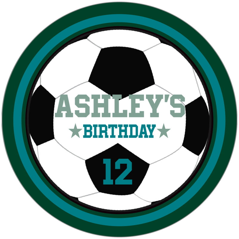 circle food/craft labels - teal & forest - soccer (set of 12)