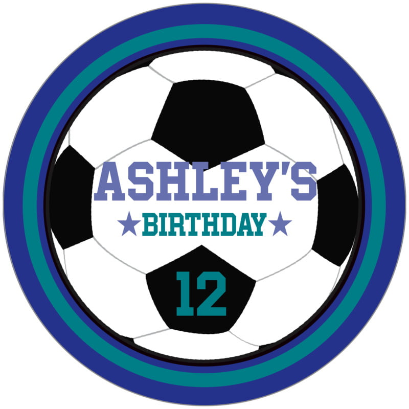 circle food/craft labels - teal & royal - soccer (set of 12)