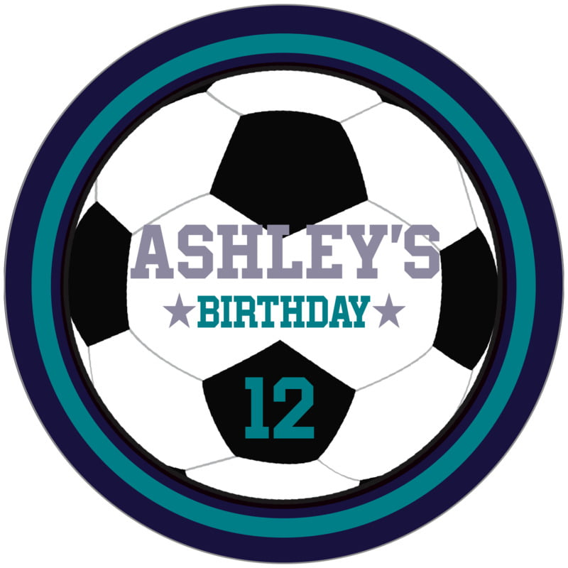 circle food/craft labels - teal & navy - soccer (set of 12)