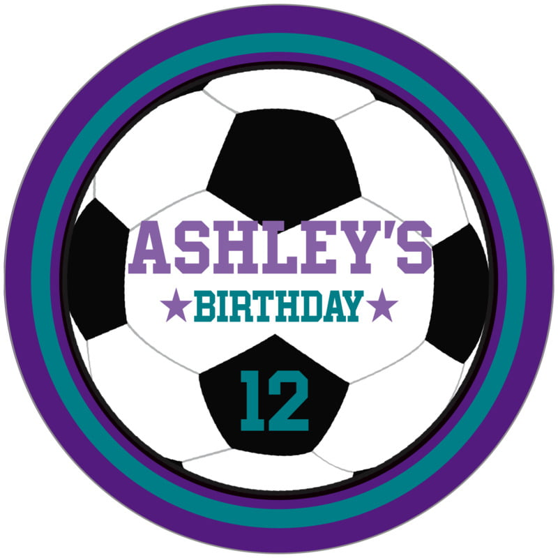 circle food/craft labels - teal & purple - soccer (set of 12)