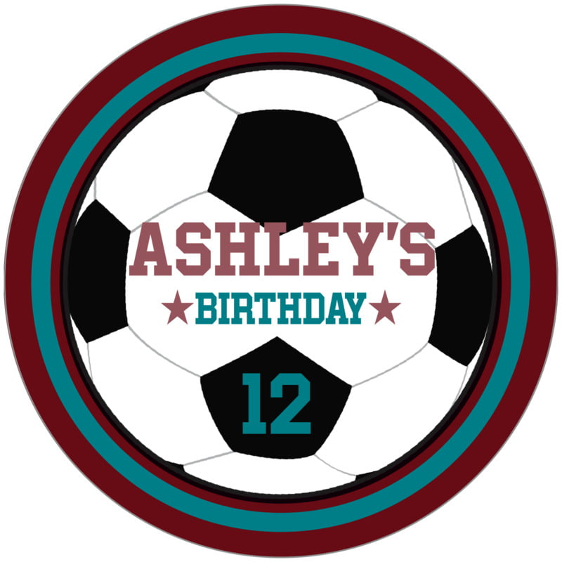 circle food/craft labels - teal & maroon - soccer (set of 12)