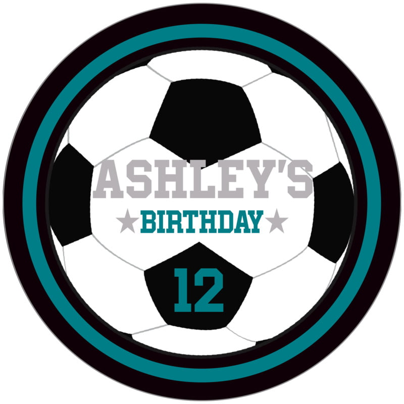 circle food/craft labels - teal & black - soccer (set of 12)