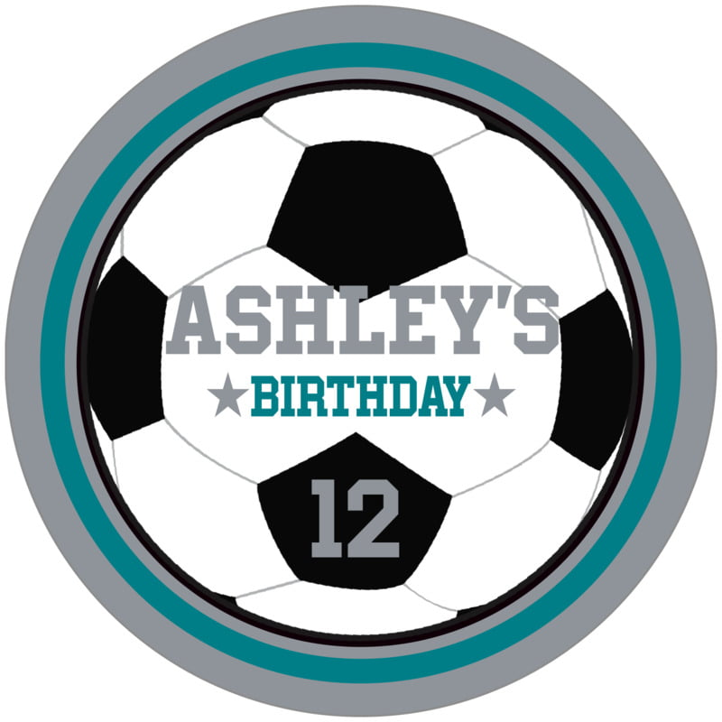 circle food/craft labels - teal & silver - soccer (set of 12)