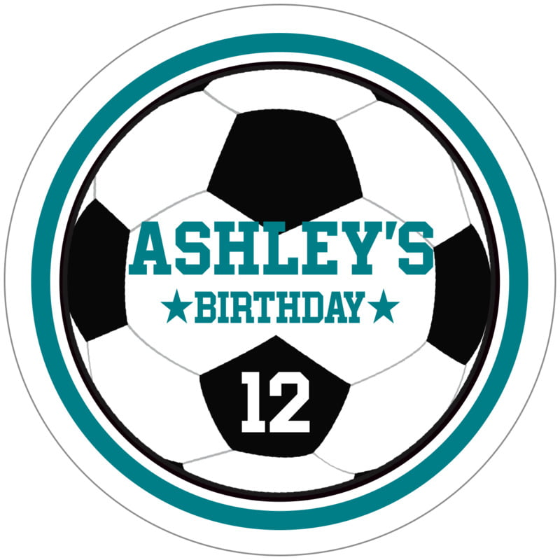 circle food/craft labels - teal & white - soccer (set of 12)