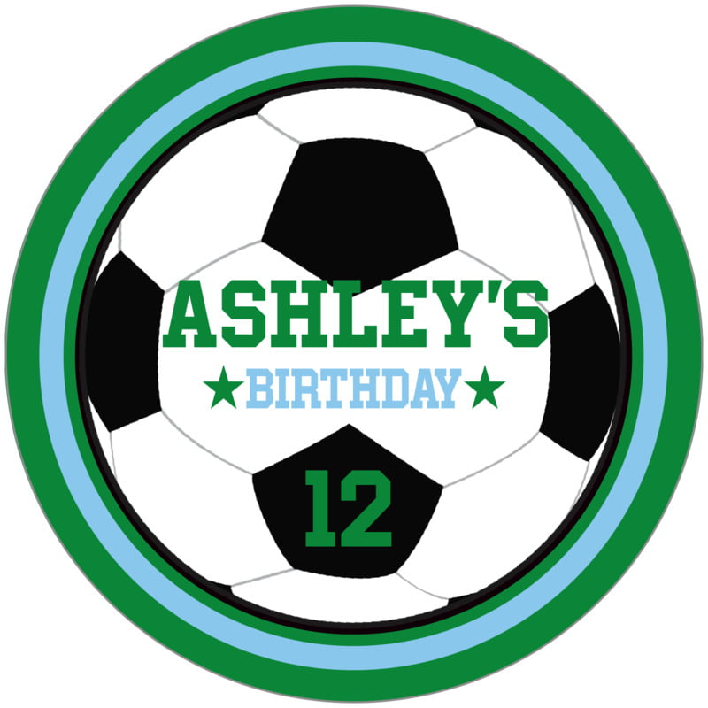 circle food/craft labels - light blue & green - soccer (set of 12)