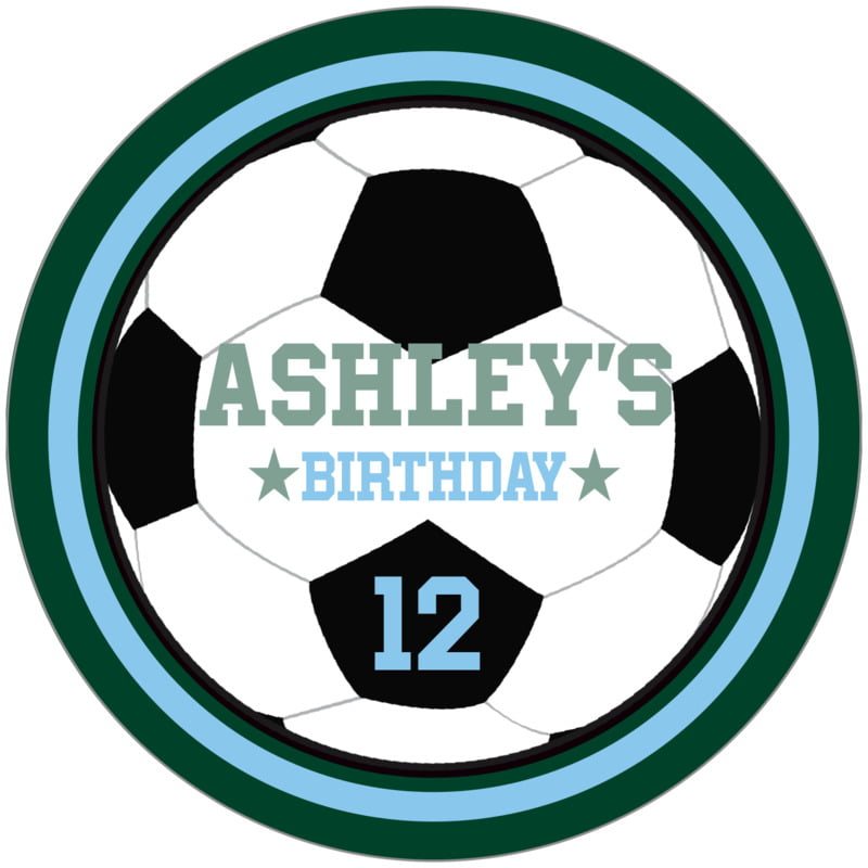circle food/craft labels - light blue & forest - soccer (set of 12)