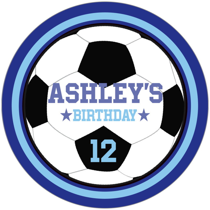 circle food/craft labels - light blue & royal - soccer (set of 12)