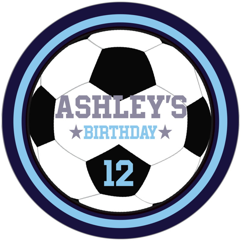 circle food/craft labels - light blue & navy - soccer (set of 12)