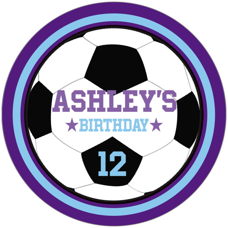 circle food/craft labels - light blue & purple - soccer (set of 12)