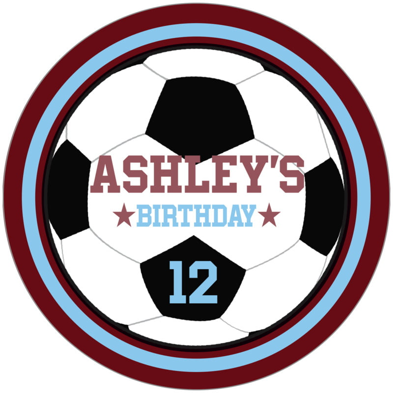circle food/craft labels - light blue & maroon - soccer (set of 12)