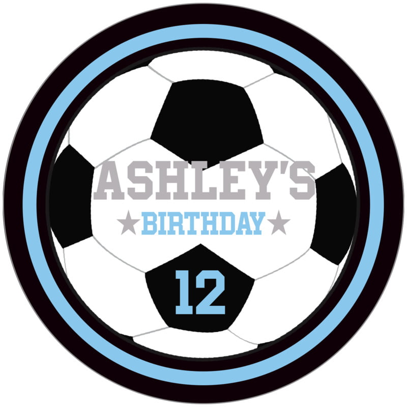 circle food/craft labels - light blue & black - soccer (set of 12)