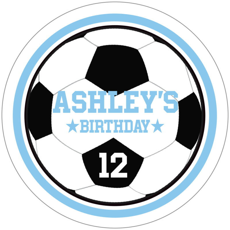 circle food/craft labels - light blue & white - soccer (set of 12)