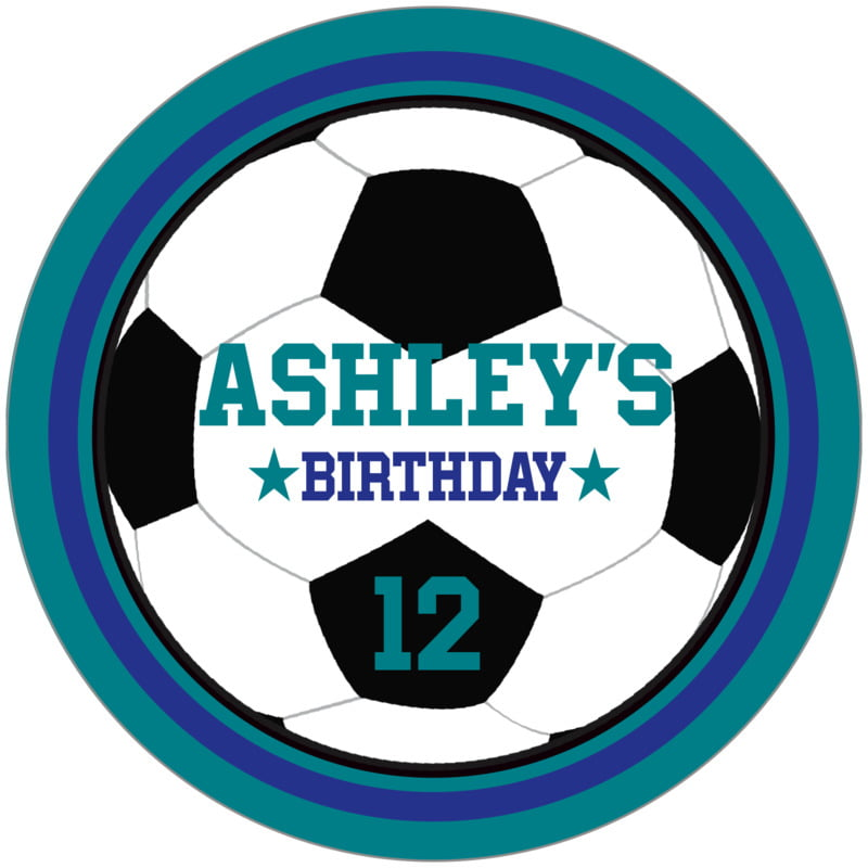 circle food/craft labels - royal & teal - soccer (set of 12)