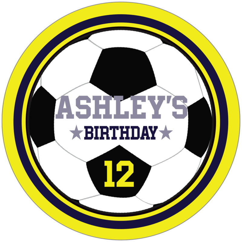circle food/craft labels - navy & yellow - soccer (set of 12)