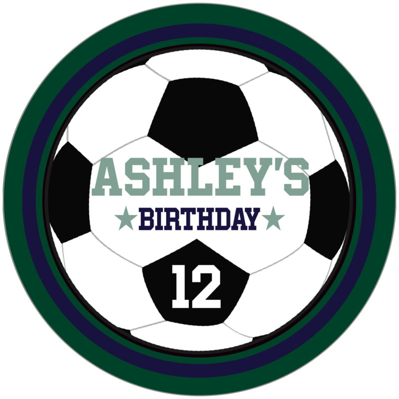 circle food/craft labels - navy & forest - soccer (set of 12)