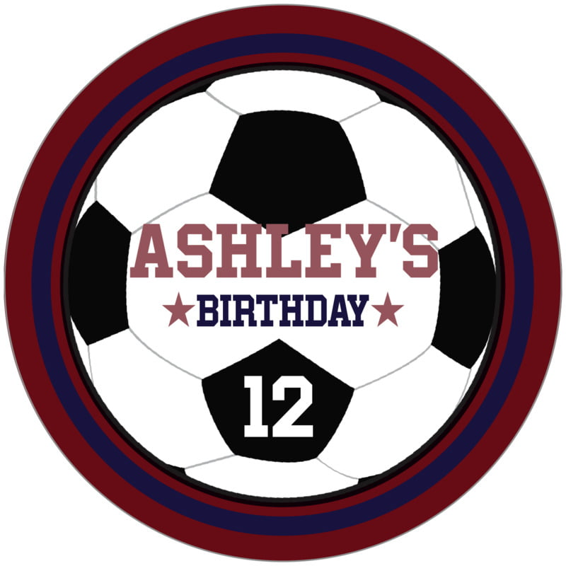 circle food/craft labels - navy & maroon - soccer (set of 12)