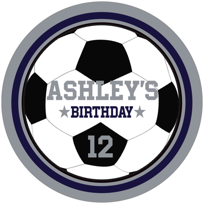 circle food/craft labels - navy & silver - soccer (set of 12)